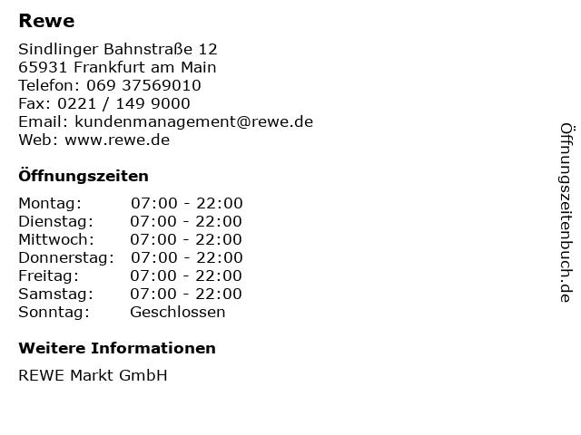 Rewe in Frankfurt am Main: Adresse und Öffnungszeiten