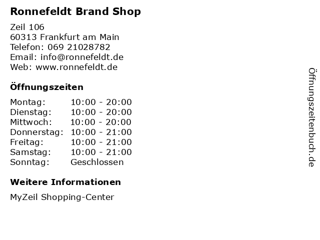Ronnefeldt Brand Shop in Frankfurt am Main: Adresse und Öffnungszeiten