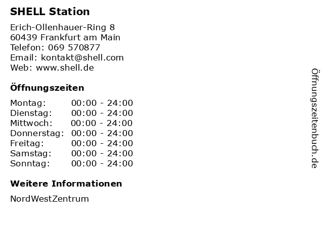 SHELL Station in Frankfurt am Main: Adresse und Öffnungszeiten