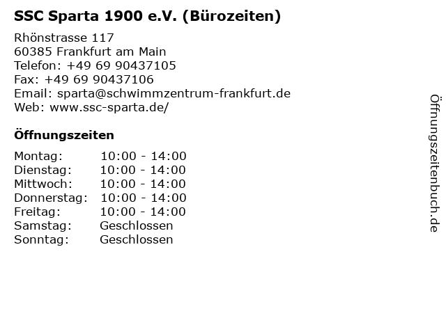SSC Sparta 1900 e.V. (Bürozeiten) in Frankfurt am Main: Adresse und Öffnungszeiten