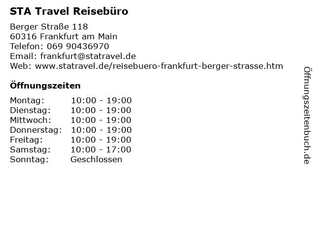 STA Travel Reisebüro in Frankfurt am Main: Adresse und Öffnungszeiten