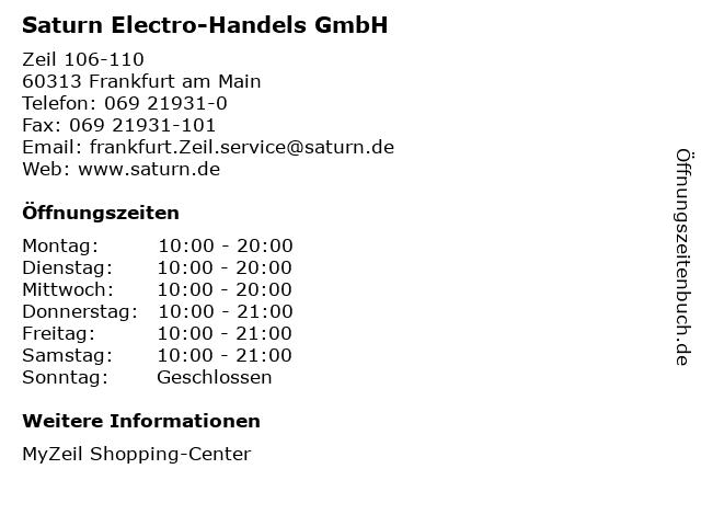 Saturn Electro-Handels GmbH in Frankfurt am Main: Adresse und Öffnungszeiten