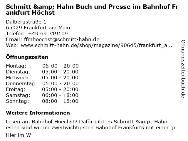 Schmitt & Hahn Buch und Presse im Bahnhof Frankfurt Höchst in Frankfurt am Main: Adresse und Öffnungszeiten