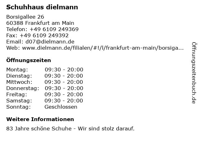 Schuhhaus dielmann in Frankfurt am Main: Adresse und Öffnungszeiten