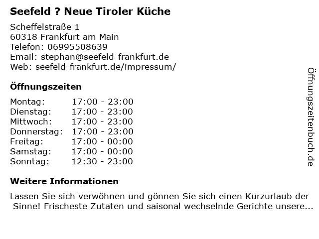 Seefeld ? Neue Tiroler Küche in Frankfurt am Main: Adresse und Öffnungszeiten
