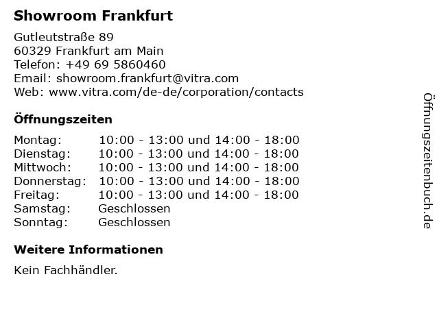 Showroom Frankfurt in Frankfurt am Main: Adresse und Öffnungszeiten