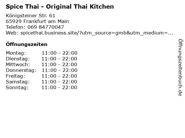 Spice Thai - Original Thai Kitchen in Frankfurt am Main: Adresse und Öffnungszeiten