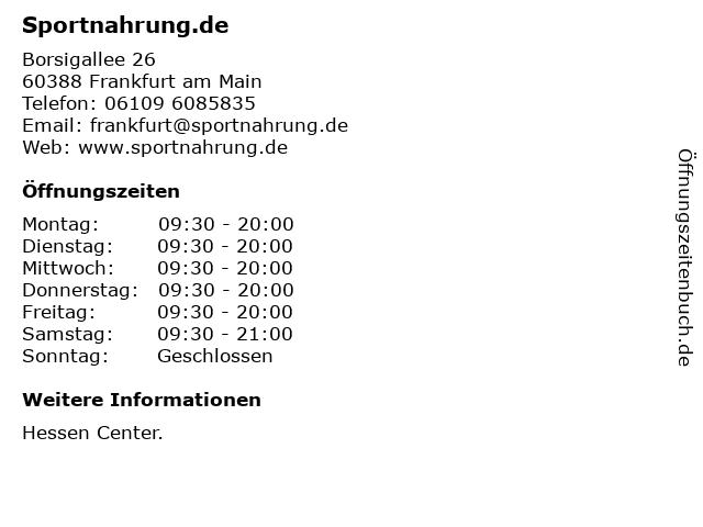 Sportnahrung.de in Frankfurt am Main: Adresse und Öffnungszeiten