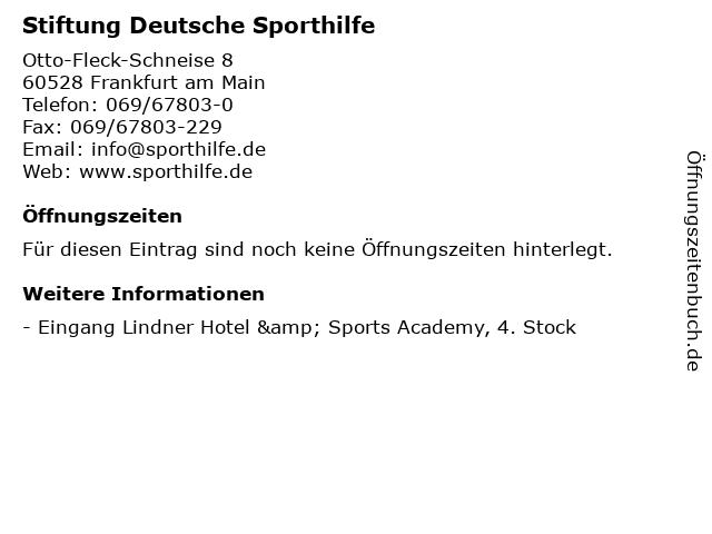 Stiftung Deutsche Sporthilfe in Frankfurt am Main: Adresse und Öffnungszeiten