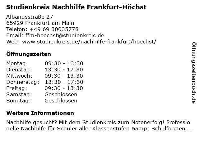 Studienkreis Nachhilfe Frankfurt-Höchst in Frankfurt am Main: Adresse und Öffnungszeiten