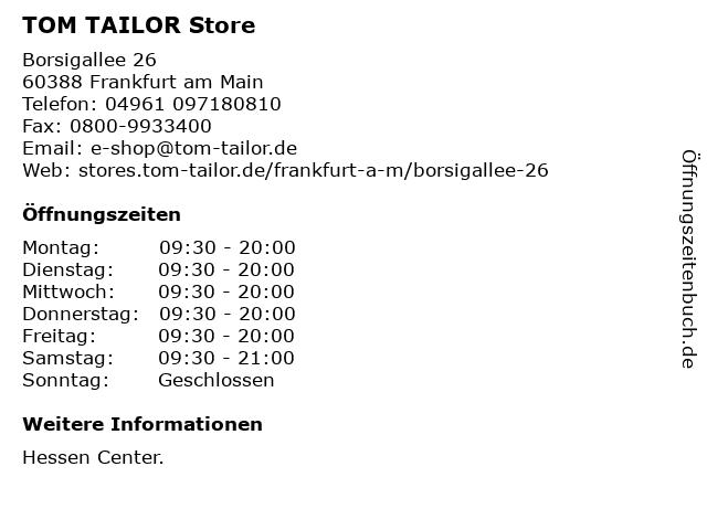 TOM TAILOR Store in Frankfurt am Main: Adresse und Öffnungszeiten