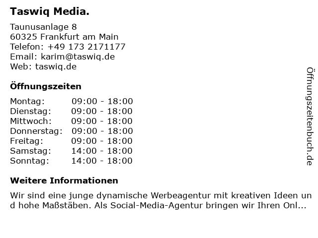 Taswiq Media. in Hanau: Adresse und Öffnungszeiten