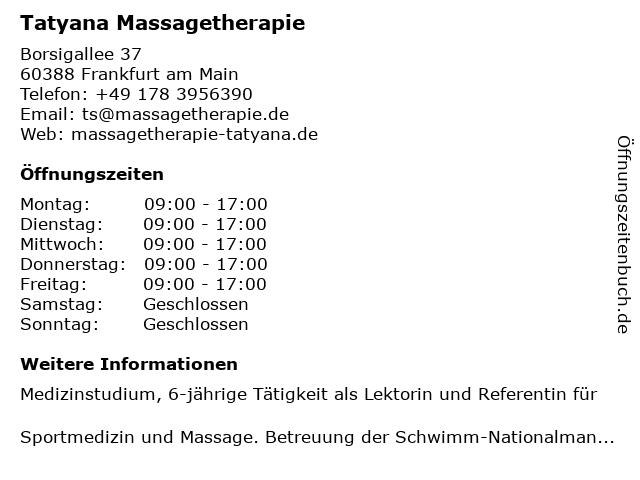 Tatyana Massagetherapie in Frankfurt am Main: Adresse und Öffnungszeiten