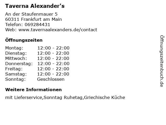 Taverna Alexander's in Frankfurt am Main: Adresse und Öffnungszeiten