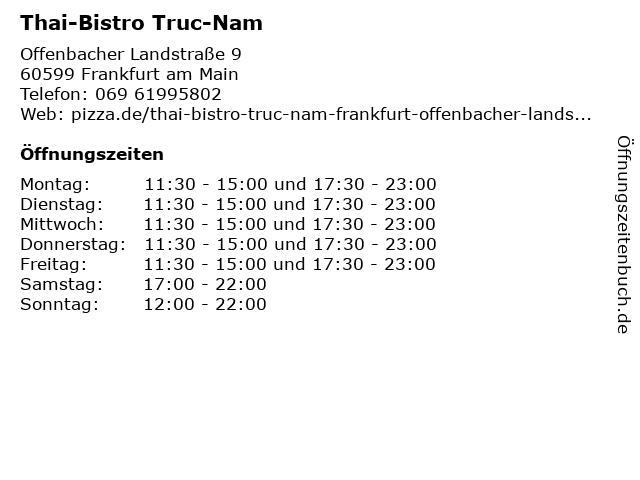 Thai-Bistro Truc-Nam in Frankfurt am Main: Adresse und Öffnungszeiten