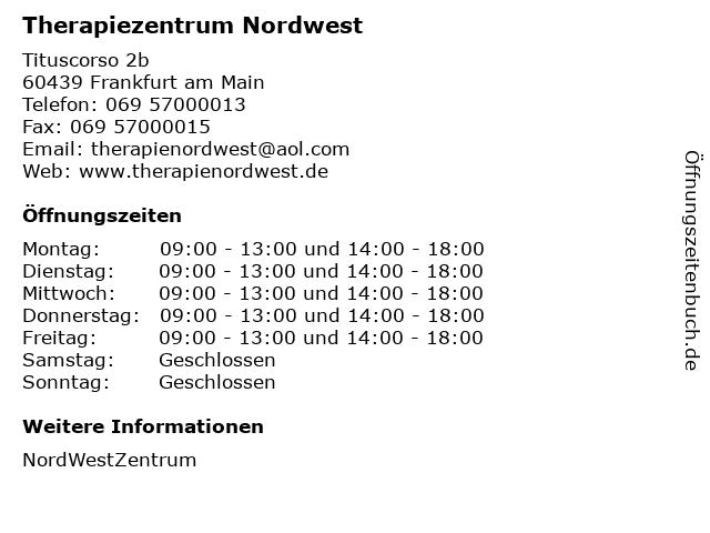Therapiezentrum Nordwest in Frankfurt am Main: Adresse und Öffnungszeiten