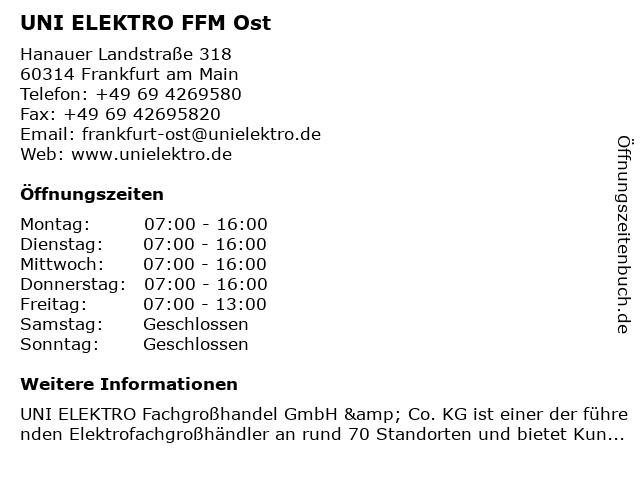 UNI ELEKTRO FFM Ost in Frankfurt am Main: Adresse und Öffnungszeiten