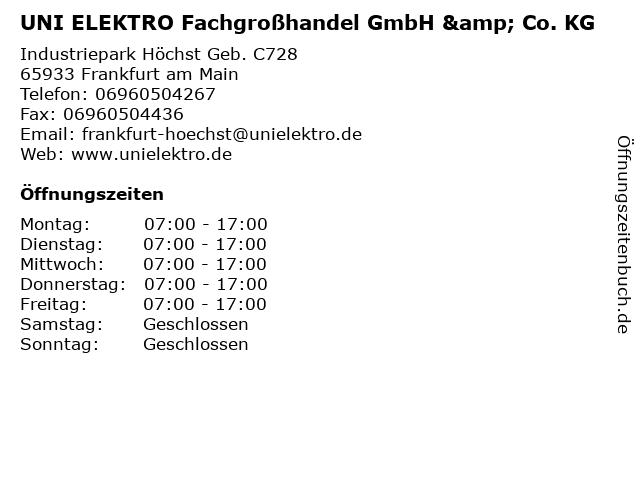 UNI ELEKTRO Fachgroßhandel GmbH & Co. KG in Frankfurt am Main: Adresse und Öffnungszeiten