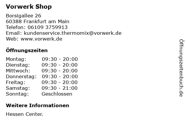 Vorwerk Shop in Frankfurt am Main: Adresse und Öffnungszeiten