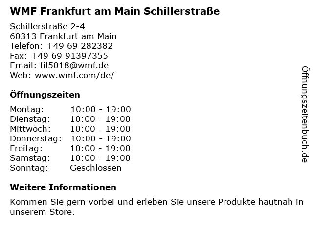 WMF in Frankfurt am Main: Adresse und Öffnungszeiten