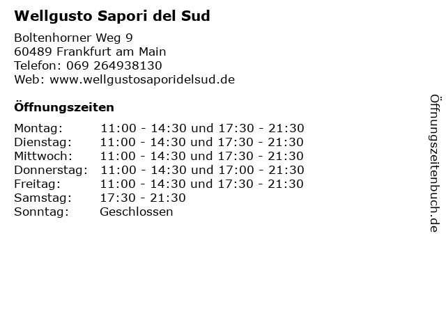 Wellgusto Sapori del Sud in Frankfurt am Main: Adresse und Öffnungszeiten