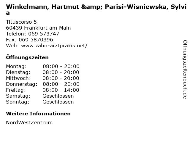 Winkelmann, Hartmut & Parisi-Wisniewska, Sylvia in Frankfurt am Main: Adresse und Öffnungszeiten