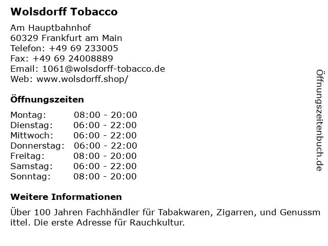 Wolsdorff Tobacco in Frankfurt am Main: Adresse und Öffnungszeiten
