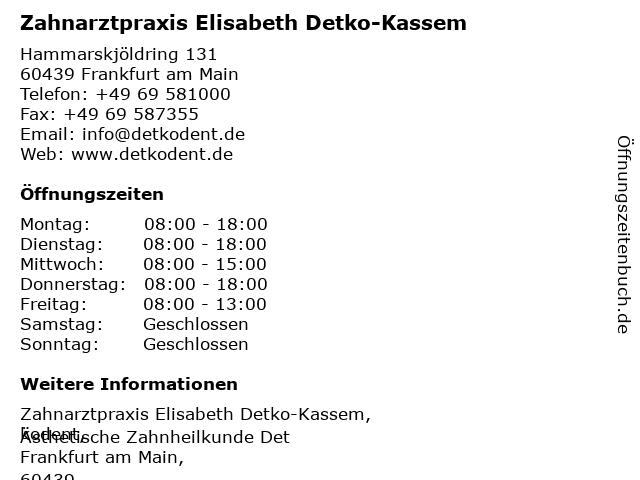 Zahnarztpraxis Elisabeth Detko-Kassem in Frankfurt am Main: Adresse und Öffnungszeiten