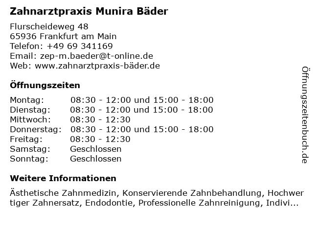 Zahnarztpraxis Munira Bäder in Frankfurt am Main: Adresse und Öffnungszeiten