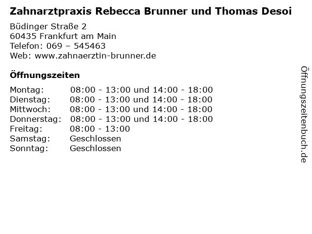 Zahnarztpraxis Rebecca Brunner und Thomas Desoi in Frankfurt am Main: Adresse und Öffnungszeiten