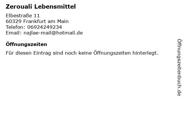 Zerouali Lebensmittel in Frankfurt am Main: Adresse und Öffnungszeiten