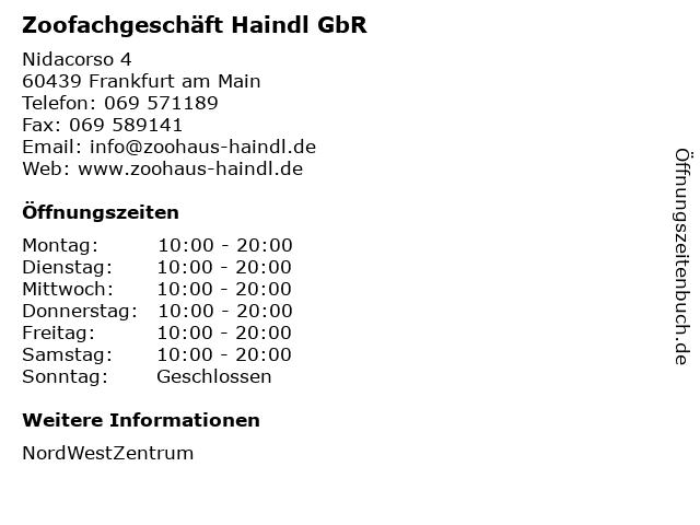 Zoofachgeschäft Haindl GbR in Frankfurt am Main: Adresse und Öffnungszeiten