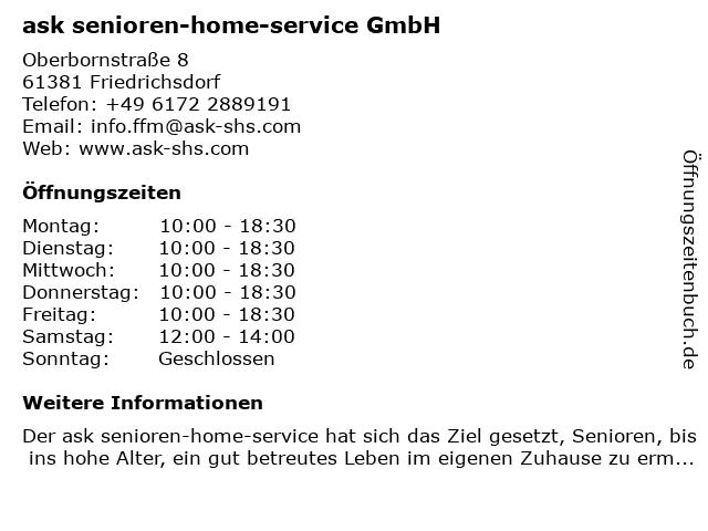 ask senioren-home-service Rhein-Main in Frankfurt am Main: Adresse und Öffnungszeiten