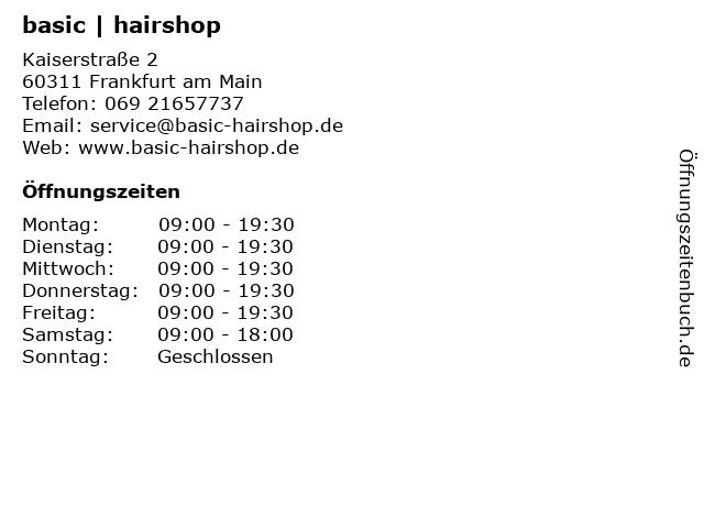 basic   hairshop in Frankfurt am Main: Adresse und Öffnungszeiten