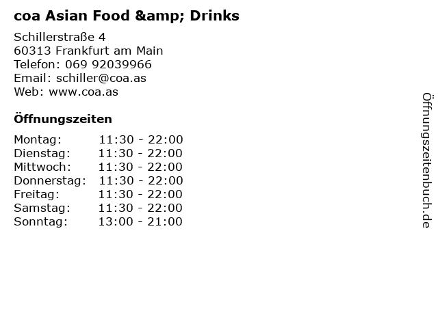 coa Asian Food & Drinks in Frankfurt am Main: Adresse und Öffnungszeiten