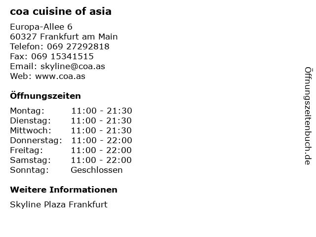 coa cuisine of asia in Frankfurt am Main: Adresse und Öffnungszeiten
