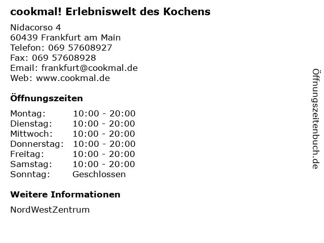 cookmal! Erlebniswelt des Kochens in Frankfurt am Main: Adresse und Öffnungszeiten