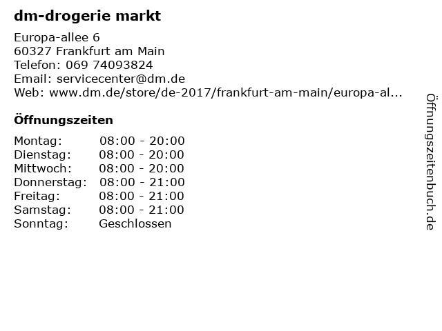dm-drogerie markt GmbH + Co. KG in Frankfurt am Main: Adresse und Öffnungszeiten