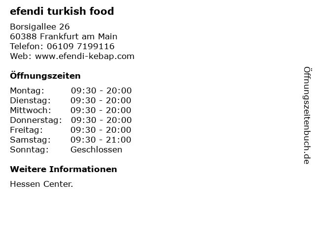 efendi turkish food in Frankfurt am Main: Adresse und Öffnungszeiten