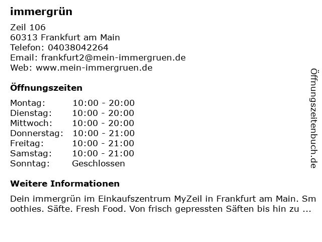 immergrün in Frankfurt am Main: Adresse und Öffnungszeiten