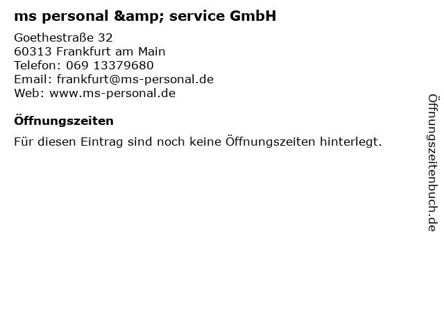 ms personal & service GmbH in Frankfurt am Main: Adresse und Öffnungszeiten