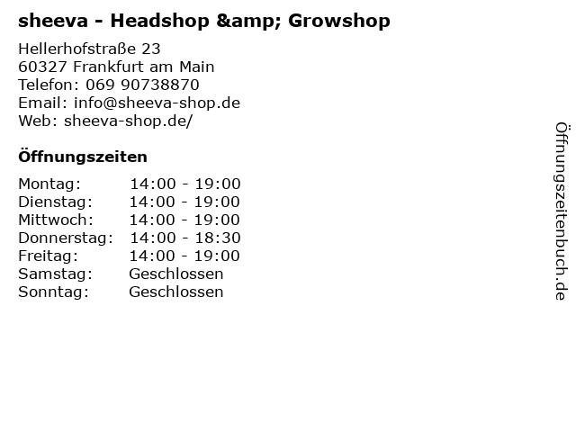 sheeva - Headshop & Growshop in Frankfurt am Main: Adresse und Öffnungszeiten