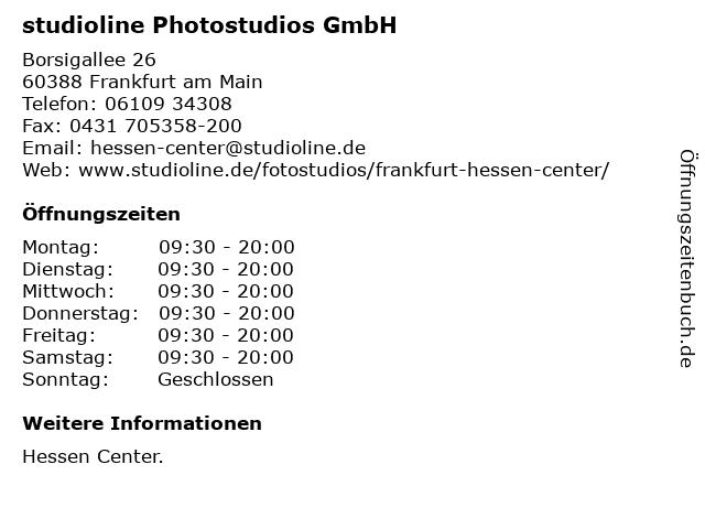 studioline Photostudios GmbH in Frankfurt am Main: Adresse und Öffnungszeiten
