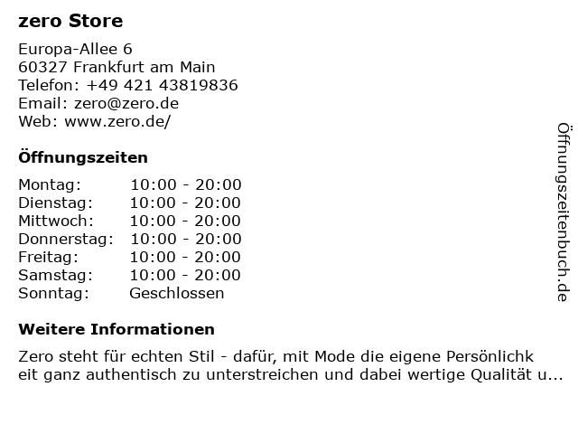 Zero Store in Frankfurt am Main: Adresse und Öffnungszeiten