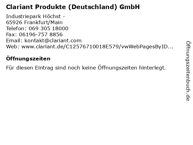 Clariant Produkte (Deutschland) GmbH in Frankfurt/Main: Adresse und Öffnungszeiten