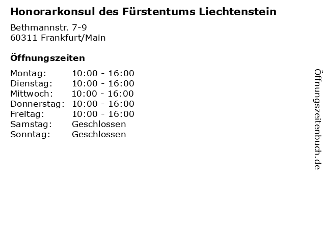 Honorarkonsul des Fürstentums Liechtenstein in Frankfurt/Main: Adresse und Öffnungszeiten
