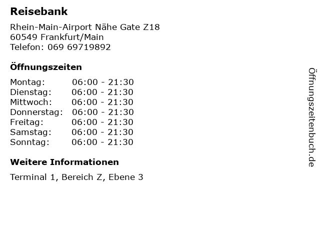 Reisebank in Frankfurt/Main: Adresse und Öffnungszeiten