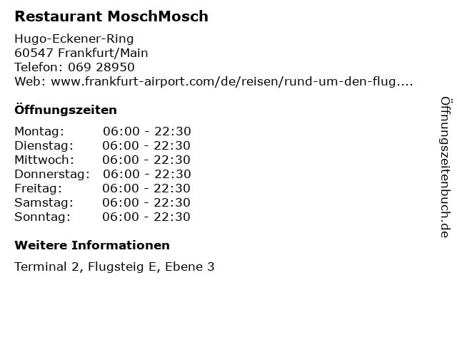 Restaurant MoschMosch in Frankfurt/Main: Adresse und Öffnungszeiten