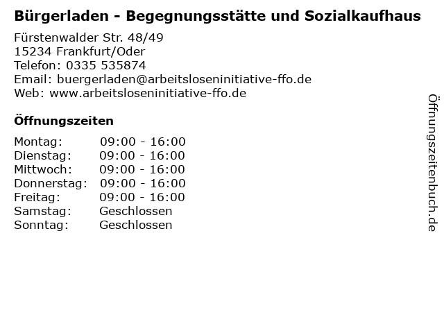 Bürgerladen - Begegnungsstätte und Sozialkaufhaus in Frankfurt/Oder: Adresse und Öffnungszeiten