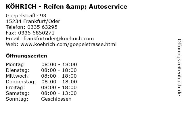 KÖHRICH - Reifen & Autoservice in Frankfurt/Oder: Adresse und Öffnungszeiten